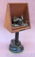 Western Union / Bunnell Telegraph Sounder w/ Hood & Candlestick Base