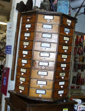 Country Store Table Top 72 Drawer Nut / Bolt / Screw Parts Cabinet