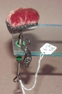 Cut Steel / Decorated Antique Sewing Clamp Pincushion w/ Hook