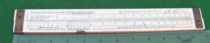 Easterly Rafter Calculating Slide Rule