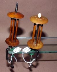 2 Polished Steel & Wood Thread Winders / Spools