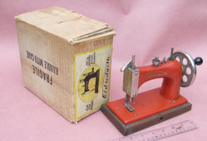 Red Eldregette TSM Toy Sewing Machine w/ Original Box