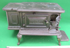 Uncle Sam Jr. Cast Iron Salesman Sample / Toy Cook Stove by Abendroth Bros