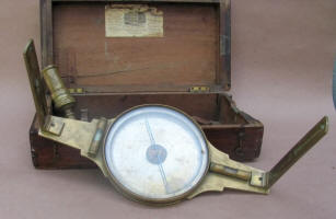 W. & L. E Gurley Surveyor's Plain Compass w/ 6' Needle