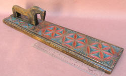 Figural / Carved Horse Handle Dated 1827 Scandinavian Mangle Board / Iron