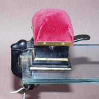 Figural Cast Iron Sewing Clamp w/ Box Pincushion