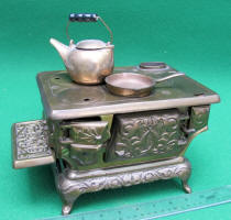 Ideal #2 Brass Plated Cast Iron Toy Stove