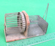 Primitive Wooden Base Live Mouse Trap w/ Exercise Wheel