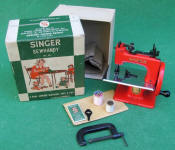 RED Singer Model 20-10 TSM / Toy Sewing Machine in Original Box