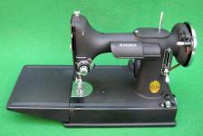 Super Rare 1940 Crinkle Finish Black Singer 221 Featherweight Sewing Machine (AF588937)
