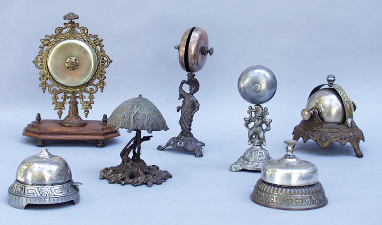 Seemingly Collection of Antique Desk & Hotel Bells - Www.AntiqBuyer.com Buying Antique Collections
