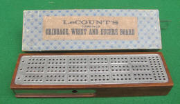 Le Count Patented 19th Century Cribbage / Whist & Euchre Board