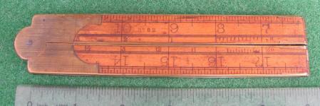 Stanley # 82 2' 4 Fold Boxwood Rule w/ Board Scales