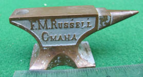 F. M. Russell Omaha Gas & Electric Fixtures Miniature Advertising Anvil