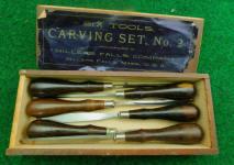 Millers Falls # 2 Carving Set 6 Rosewood Handle Chisels v& Gouges in Original Box