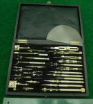 Japanese Drafting Instrument Set in Leatherette Covered Wooden Case