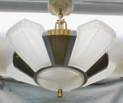 Art Deco Era Slip Shade Chandelier 7 Bulb Ceiling Light Fixture