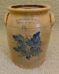 "Antique ""L. Lehman & Co."" Stoneware Crock / Jar"