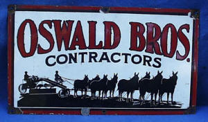 Oswald Bros. Porcelain Advertising Sign