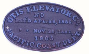 Otis  Elevator Cast Iron Plaque