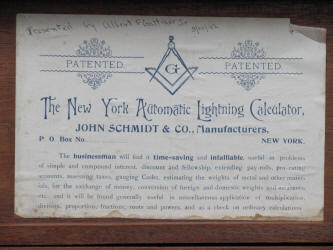 The New York Automatic Lightning Calculator /Automatic Arithmeticer by John Schmidt & Co.