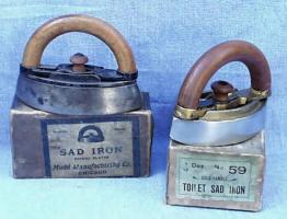 Antique Mrs. Potts Style Sad Irons in Original Box