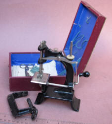 "French ""Baby""  Toy / Travel Size / Child-Size Antique Sewing Machine in Original Box"
