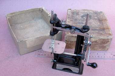 Smith & Egge Automatic Chain Drive Toy / Travel Size / Child-Size Antique Sewing Machine in Original Box