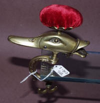 Cast Brass Mallard Duck Head Sewing Clamp with Pincushion