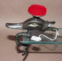 Antique Figural Duck Sewing Clamp w/ Pincushion