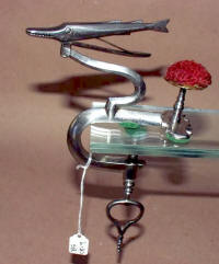 Antique Figural Barracuda Sewing Clamp with Pincushion
