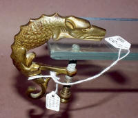 Cast Brass Figural Scaly Dog / Creature Sewing Clamp w/ Hook