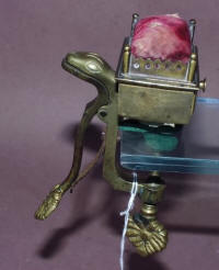 Sea Serpent / Snake Figural Brass Sewing Clamp w/ Pincushion