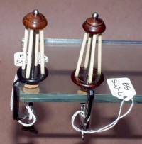 2 Polished Steel / Wood & Ivory Thread Winders / Spool Winders