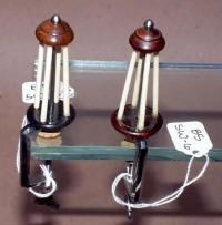2 Polished Steel / Wood & Ivory Thread Winders / Spool Winders