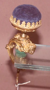 Antique Winged Cherub Gilded Brass Sewing Clamp Pincushion