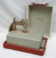 1950's Tan Singer SewHandy Toy Sewing Machine in Original Fold-out Suitcase