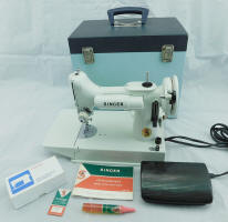 1968/69 White / Green Singer Featherweight 221K Sewing Machine with Unusual Original Carry Case (FA236298)